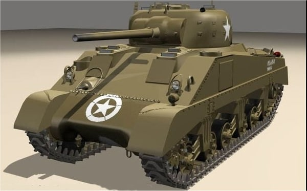3d model of sherman tank