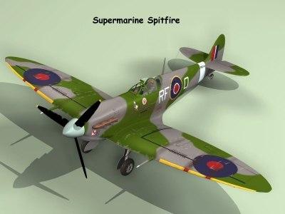 fighter plane spitfire 3d model