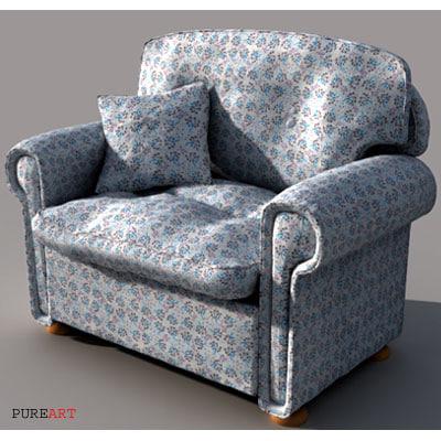 armchair leather velvet 3d model