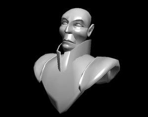 3d bust male head