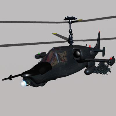 helicopter ka-50 fighter 3d model