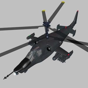 helicopter ka-50 fighter wavefront 3d model