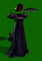 3d model of reticule regency dress