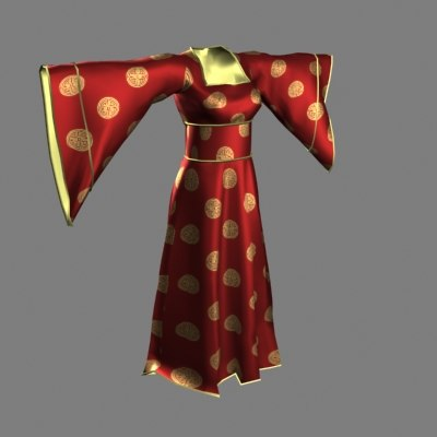 traditional chinese gown 3d max