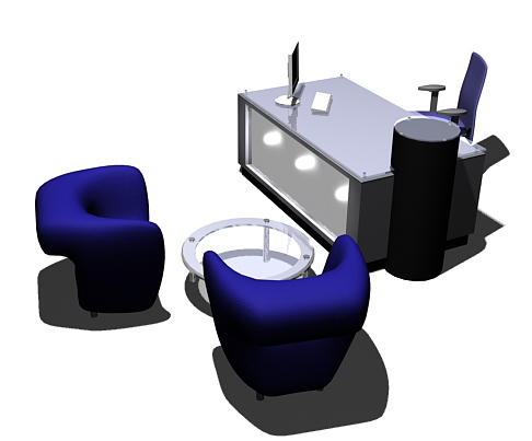 free office reception 3d model