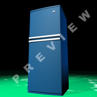 simple blue refrigerator 3d model