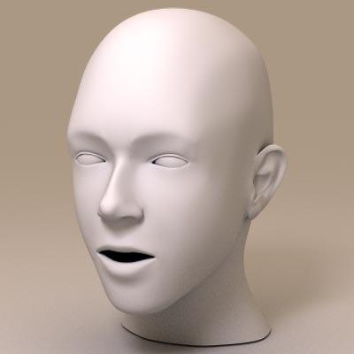 caucasian female head 3d model