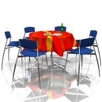 restaurant table chairs 3d model