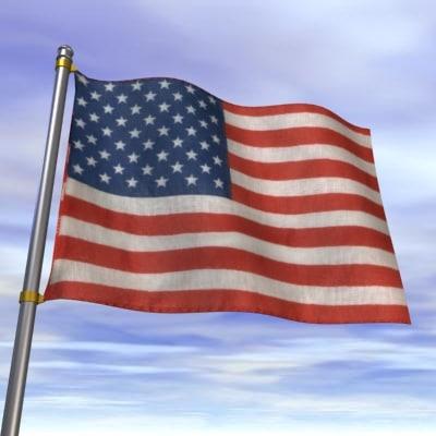 flag usa wave 3d model