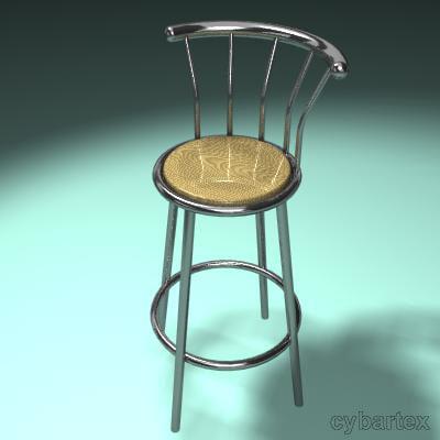 3d chrome bar stool