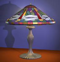 tiffany lamp dragonflys polygons 3d model