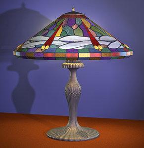 tiffany lamp dragonflys polygons 3d model