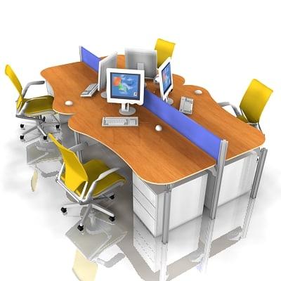 office workstation 3d model
