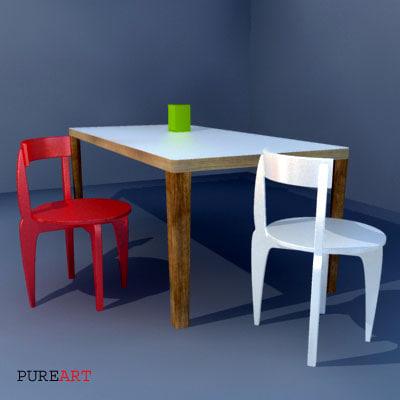 3dsmax table chair