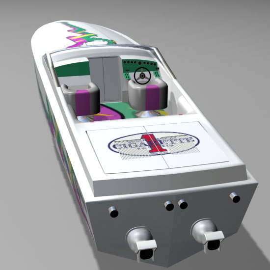 powered cigarette speed boat racing 3d model