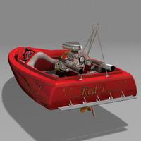 3d model speed boat drag