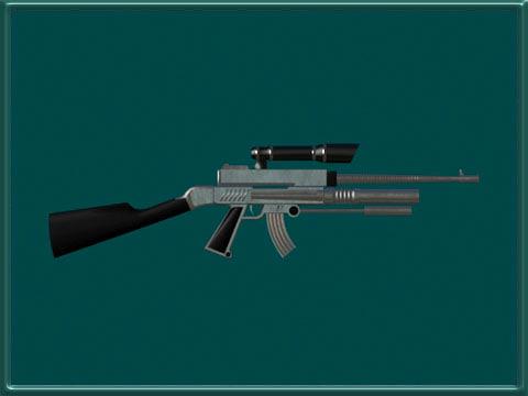 3d gun futuristic rifle model