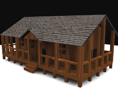 3ds max cabin house
