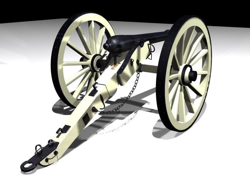 3d model civil war cannon