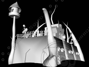 3d model abstract castle