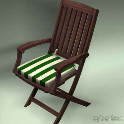 mahogony garden chair 3d 3ds