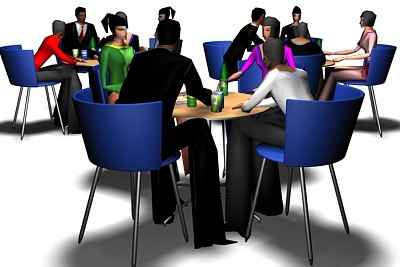 restaurant cafe tables people 3d model