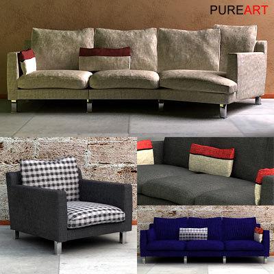 upholstered sofa 3d model