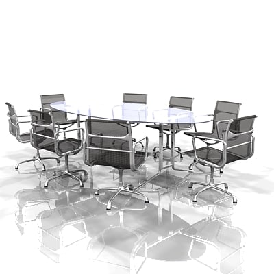 meeting conference table eames chairs 3d model