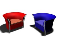 free cool tubby chair office 3d model