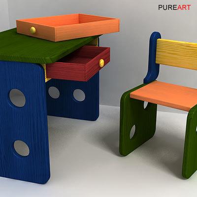 3d desk chair kimplo model