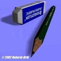 3d faber pencil eraser model