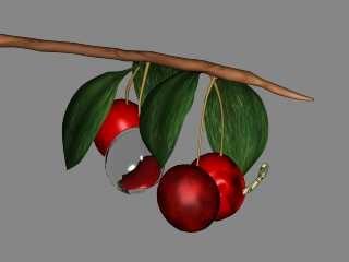 3d fruit worm cherry model