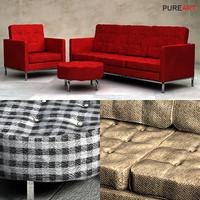 upholstered sofa armchair pouf 3d model