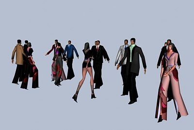 17 walking people 3d model