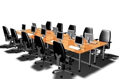 meeting training table chairs 3d model