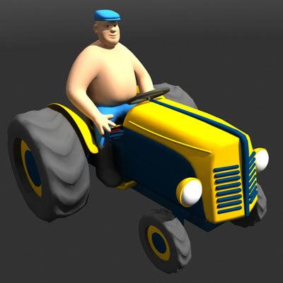 tractor farmer 3d model