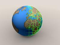 globe wireframe 3d model