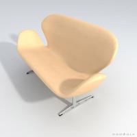 arne jakobsen swan sofa 3d model