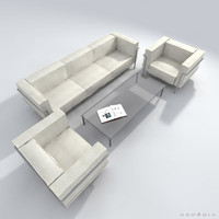 le corbusier lc2 sofa couch 3d model