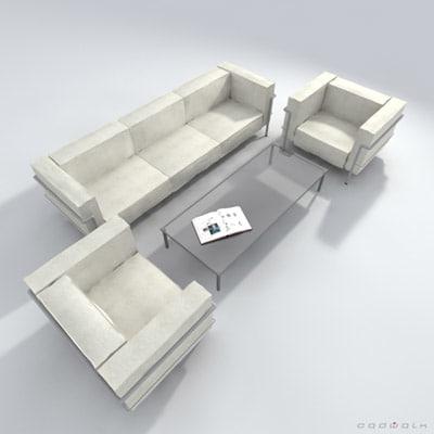 le corbusier lc2 sofa couch 3d model