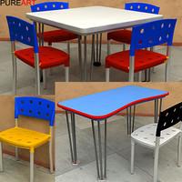 table desk chair 3d model