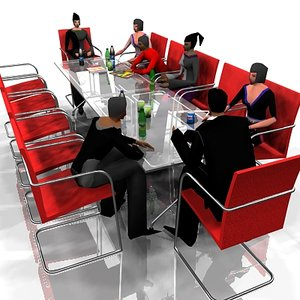 3d conference table seated people