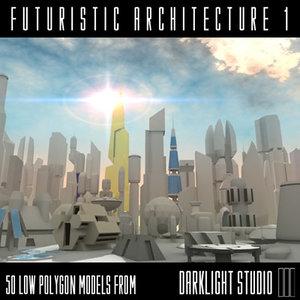 futuristic architecture 3d model