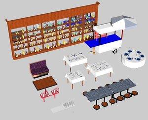 3d restaurant bench glasses model
