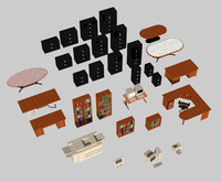 office desk 3d dxf