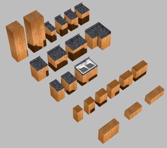 3d dwg kitchen cabinet