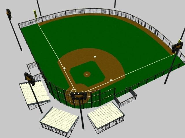 res baseball diamond ball 3d model