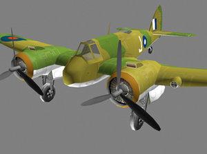 flight simulation beaufighter 3d model