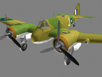 flight simulation beaufighter 3d model