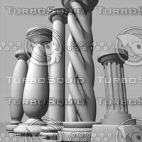 3d columnspedastalgreekromantheaterstonerockcarveancienthistory